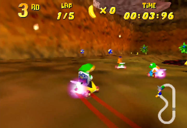 Link boosts around a corner in Diddy Kong Racing x Ocarina of Time's Dodongo Cavern.