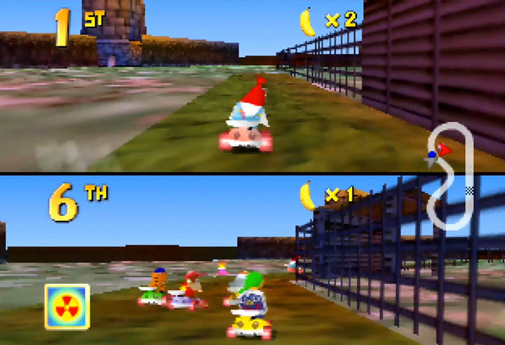 Drumstick races against Link on the Lon Lon Ranch track.
