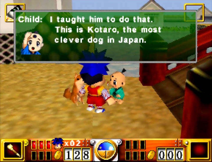 A young child claims his dog Kotaro is the most clever dog in Japan in N64 game Goemon's Great Adventure