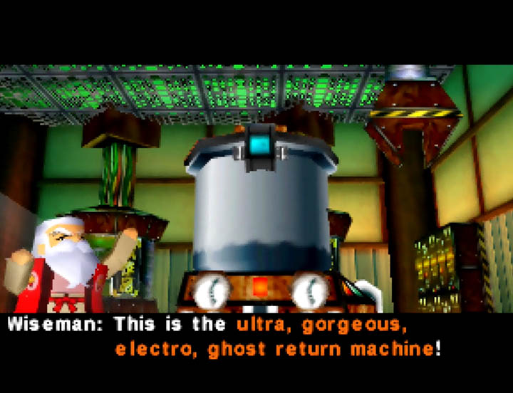 Wiseman's ultra, gorgeous, electro, ghost-return machine in Goemon's Great Adventure.