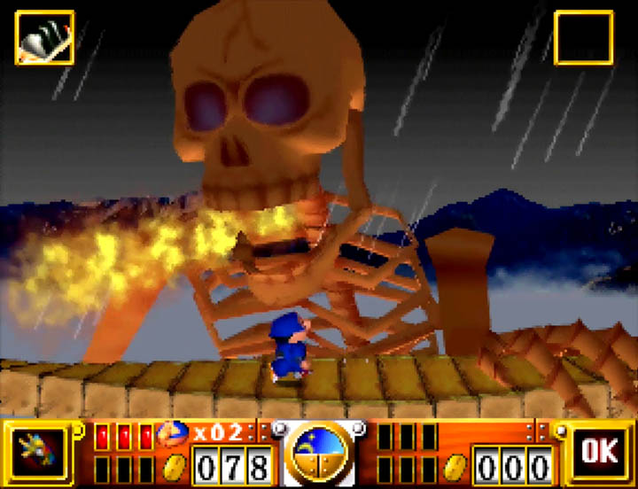 Ebisumaru flees the Giant Skeleton's fire breath attack in Goemon's Great Adventure