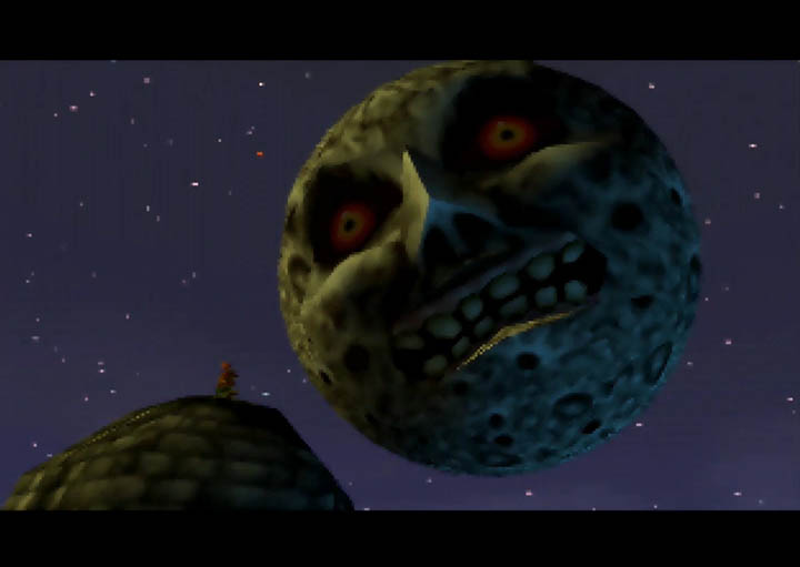 The Skull Kid and the Moon in The Legend of Zelda: Majora's Mask on N64.