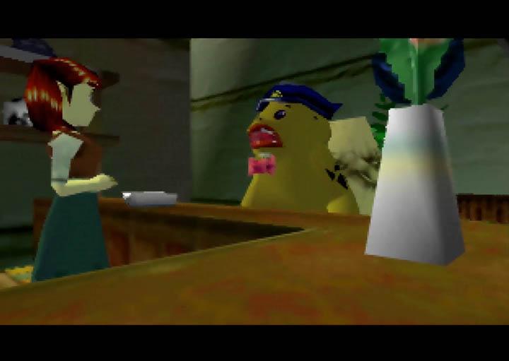 Link the Goron arrives at the Stock Pot Inn in The Legend of Zelda: Majora's Mask.
