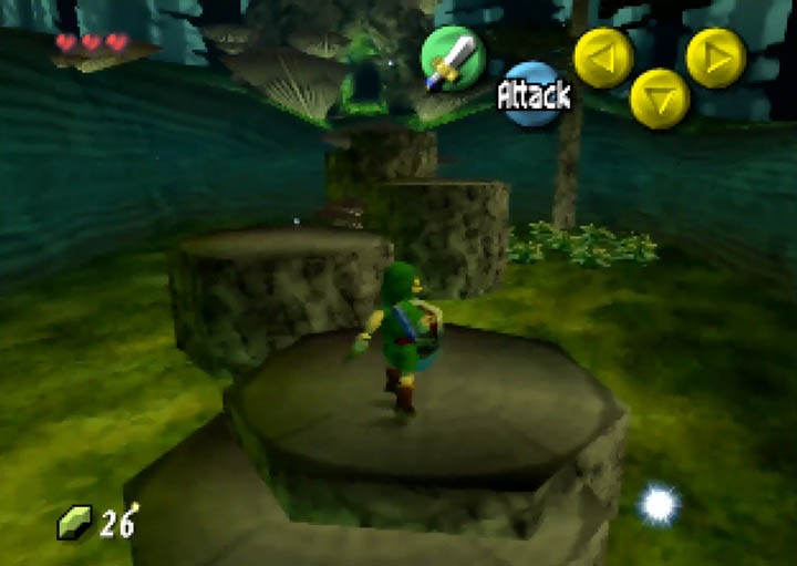 Link jumps from stump to stump in The Legend of Zelda: Majora's Mask.