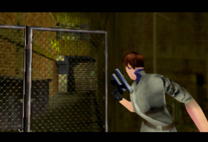 Jo carefully leans around a corner in Perfect Dark's Chicago Stealth mission.
