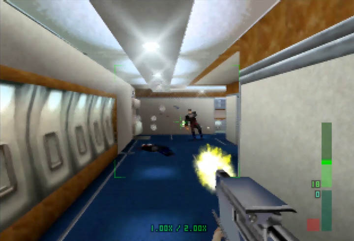 Gunning down NSA guards with the Lapton Gun in Perfect Dark
