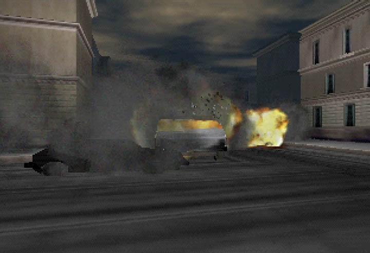 The Cybertruck gets destroyed by enemy rockets in GoldenEye 007.