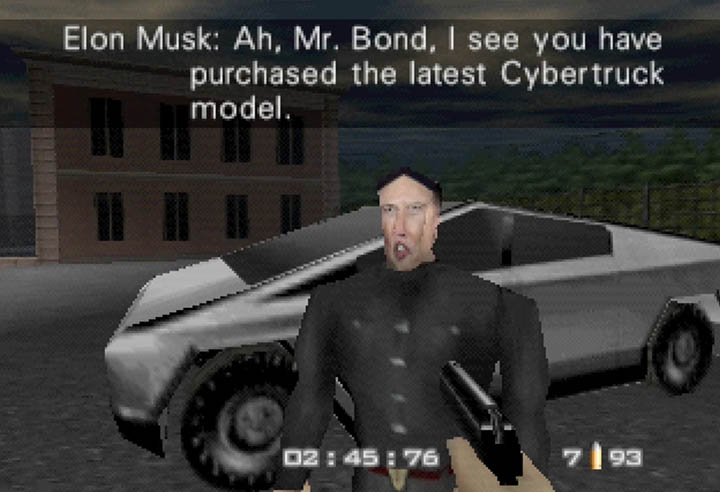 Elon Musk takes on the role of Q in the GoldenEye 007 Cybertruck mod for N64.