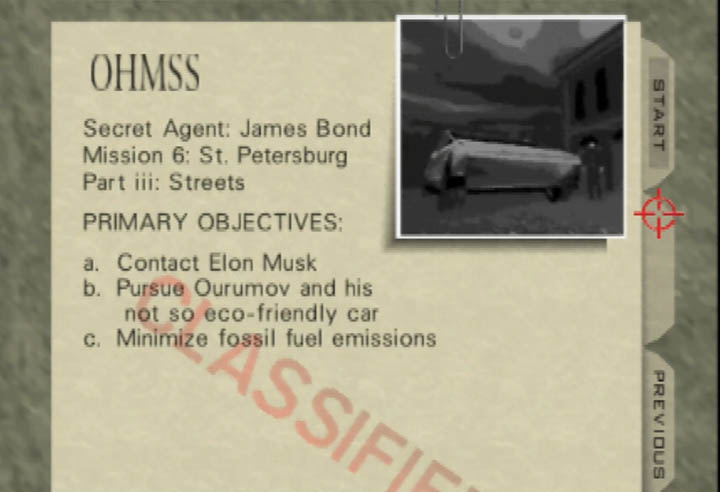 The briefing screen for the Cybertruck custom mission in GoldenEye 007.