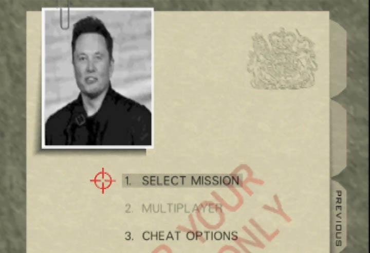 Elon Musk's face replaces Pierce Brosnan on the GoldenEye 007 main menu screen.