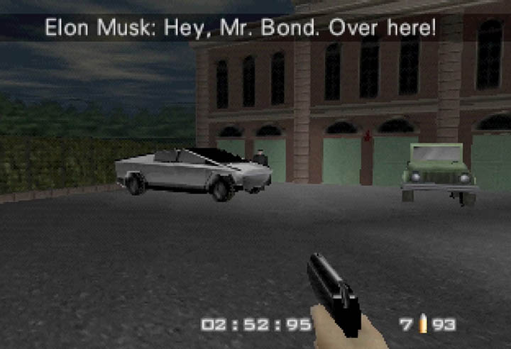 Elon Musk calls over James Bond to take a look at the Tesla Cybertruck.