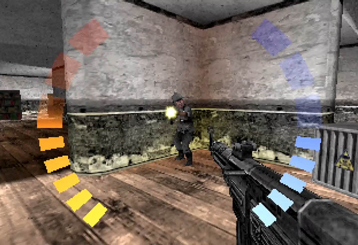 Bond takes a shot from an enemy guard in WW2 City custom mission for GoldenEye 007.