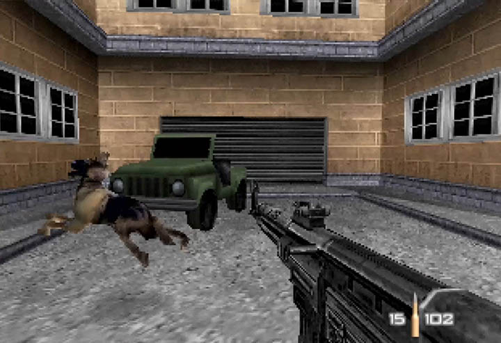 Guard dog pounces and misses James Bond in WW2 City mod for GoldenEye 007.