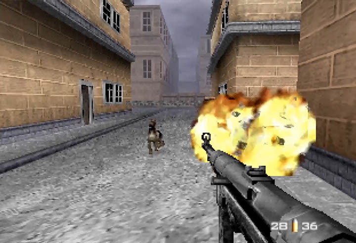 Guard dog charges James Bond in GoldenEye 007 modded level by Flargee.