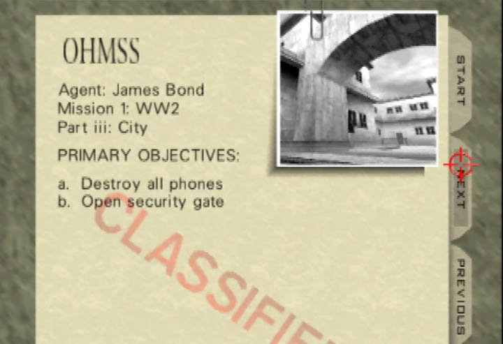 MIssion briefing for the WW2 City mission in GoldenEye 007.