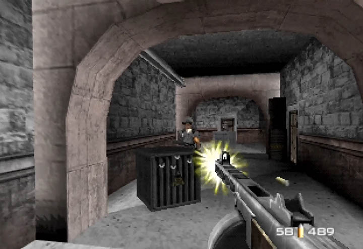 Unloading a tonne of bullets into a guard in a GoldenEye 007 mod using a PPSh-41