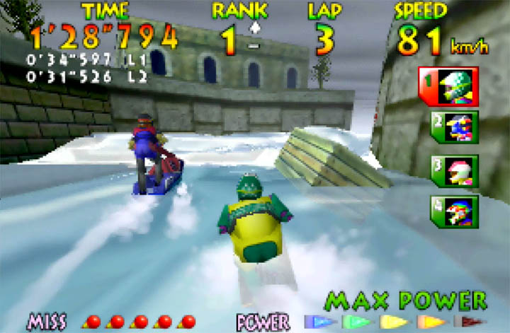 D. Mariner swerves to narrowly miss a floating crate in Wave Race 64's Marine Fortress course.