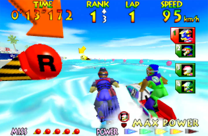 Driving to the right side of a red buoy in Wave Race 64.
