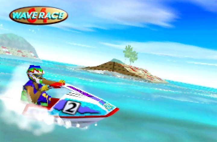 Ryota Hayami zooms along on his jet-ski in Wave Race 64.