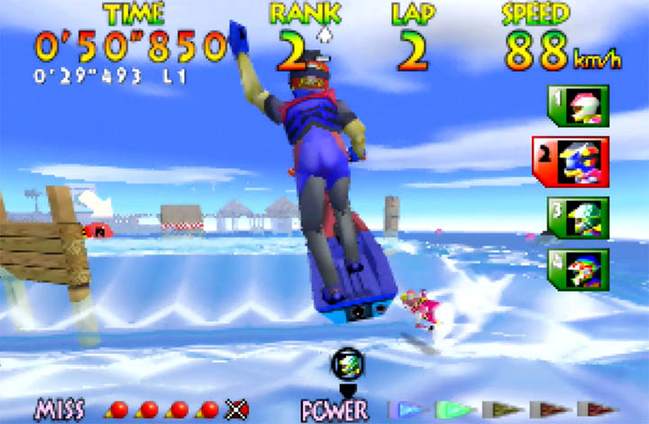 M. Jeter jumps over a killer wave in Wave Race 64's Southern Island