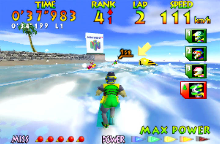 The N64 logo as it appears in Wave Race 64's Southern Island course