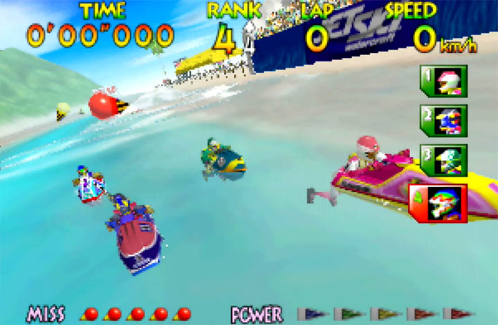 Wave Race 64's characters wait for the green light at the start of a race