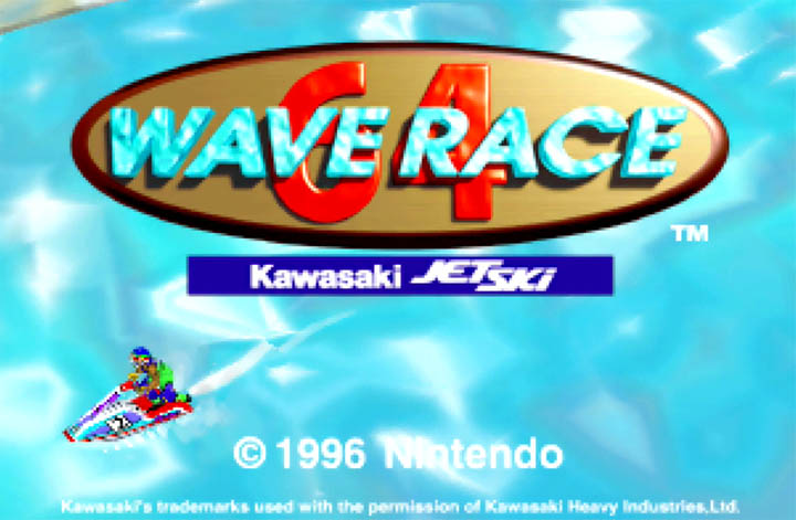 The title screen for Wave Rave 64, which includes a Kawasaki Jet-Ski logo for authenticity.