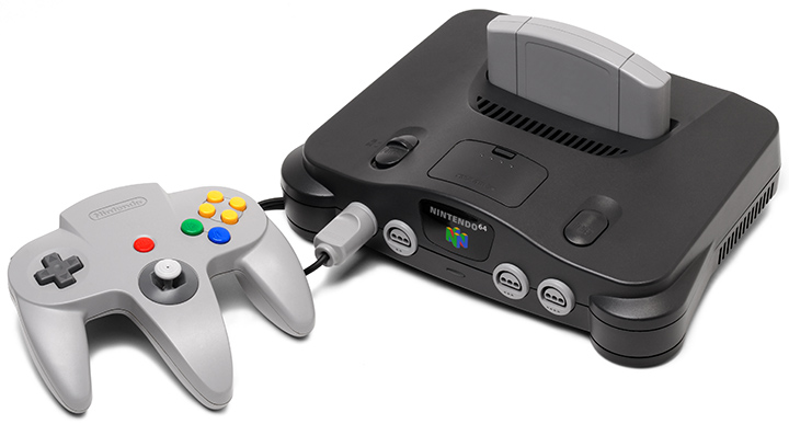 Charcoal black Nintendo 64 console with grey controller.