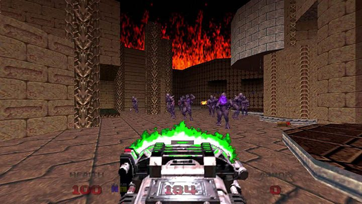 Using the BFG 9000 in the Doom 64 re-release.