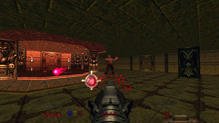Firing rockets at a Cyberdemon in Doom 64.