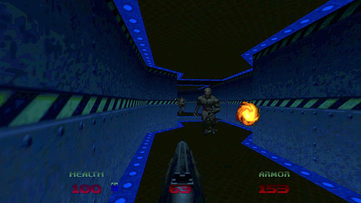 Using the shotgun in the Doom 64 re-release