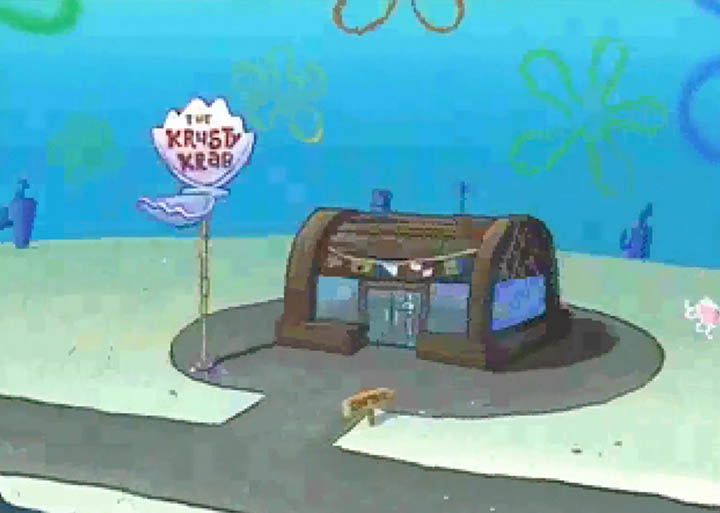 The Krusty Krab, as seen in footage played on an N64 console.
