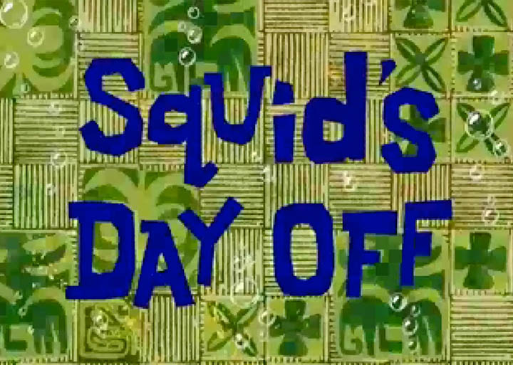 Spongebob Squarepants Squid's Day Off title card on Nintendo 64.