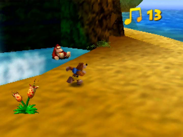 Donkey Kong chilling out on a rubber ring in the Banjo-Kazooie: Stay At Home DK Isles world.