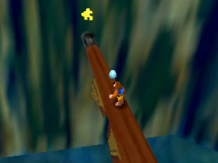 A Jiggy sits at the end of a pirate ship's bowsprit in Banjo-Kazooie: Stay At Home