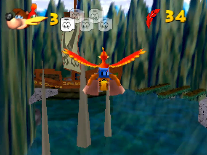 Flying above Jolly Roger Bay in Kurko Mods' Banjo-Kazooie: Stay At Home mod for N64.