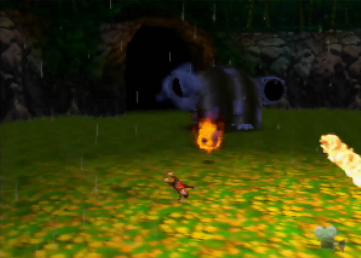 Diddy Kong battles Army Dillo in Donkey Kong 64.