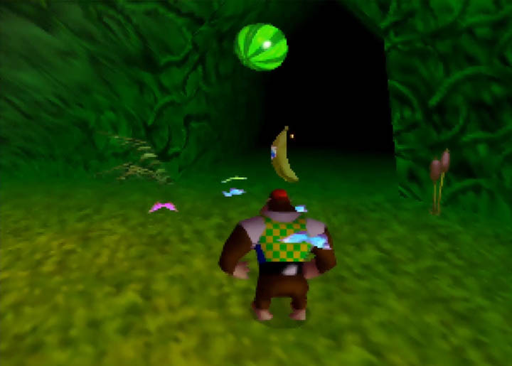 Chunky can see the first golden banana in Donkey Kong 64 Tag Anywhere mod.