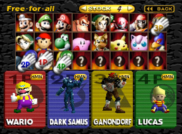 Smash Remix character select screen (version 0.9.3)