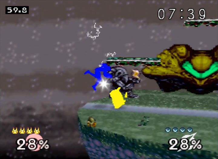 Super Smash Bros. 64 with colour overlays option to show character states.