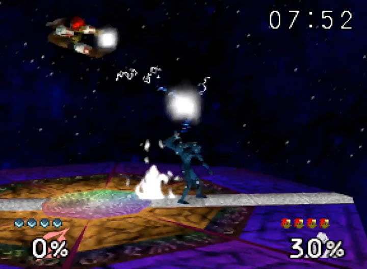 Dark Samus throws Ganondorf in Smash Remix