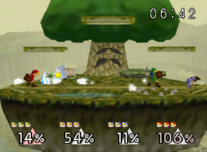 Four Young Links battle it out in front of the Great Deku Tree.