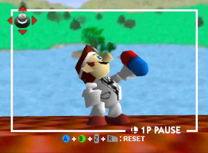 Dr Mario, a new playable character in Super Smash Bros. 64 thanks to Smash Remix mod.