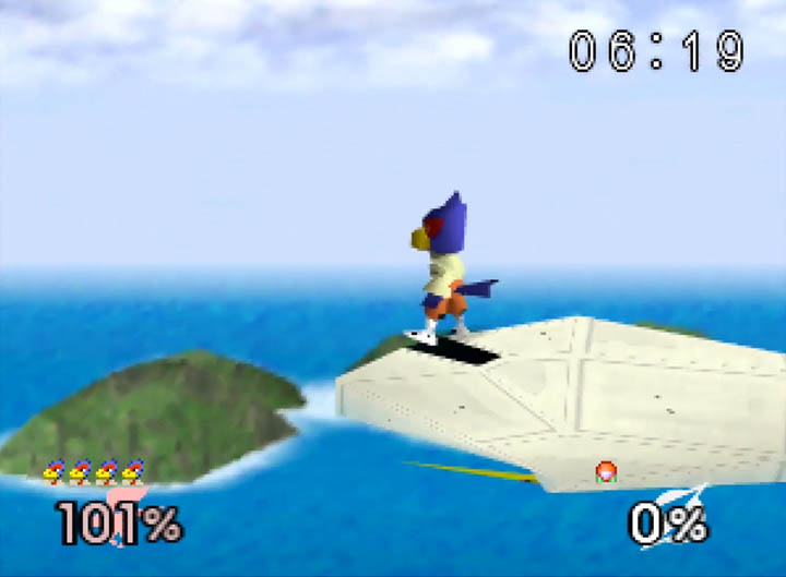 Falco Lombardi, as he appears in Super Smash Bros. 64