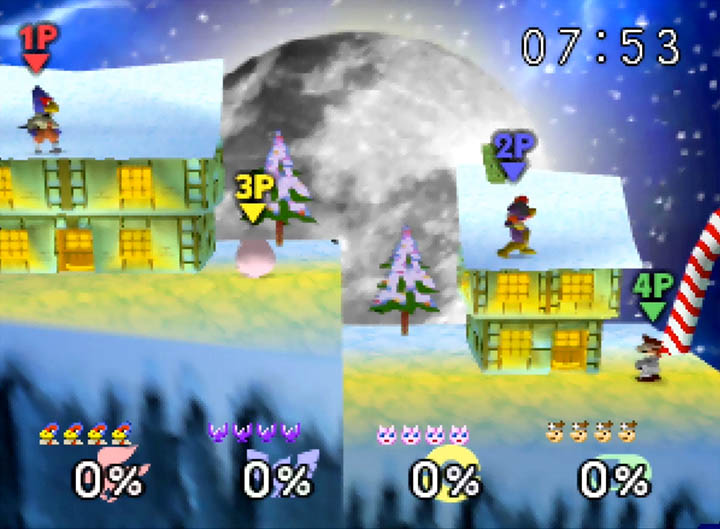 Frosty Village from Diddy Kong Racing as a playable stage in Super Smash Bros. 64