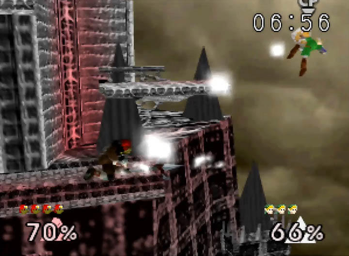 Ganondorf uses his trident to send Link flying
