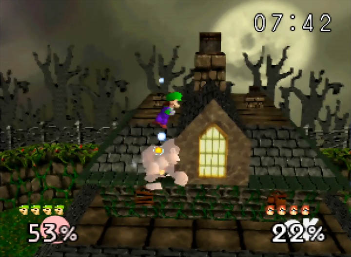Luigi drill kicks Donkey Kong atop the Mad Monster Mansion stage.