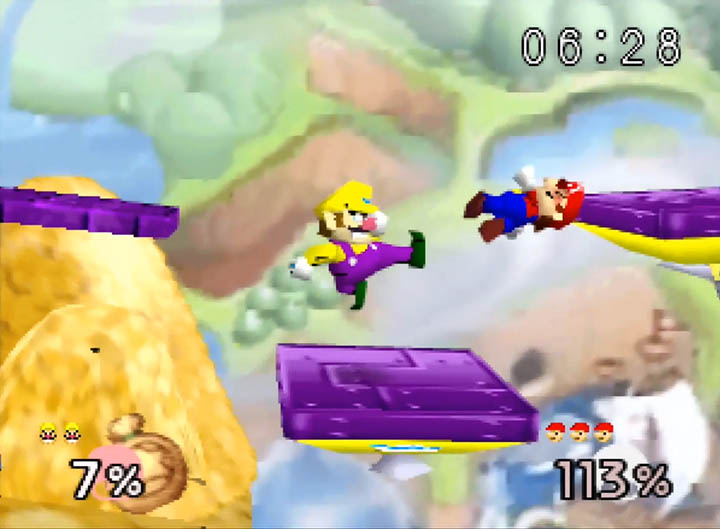 Wario boots Mario in Super Smash Bros. 64