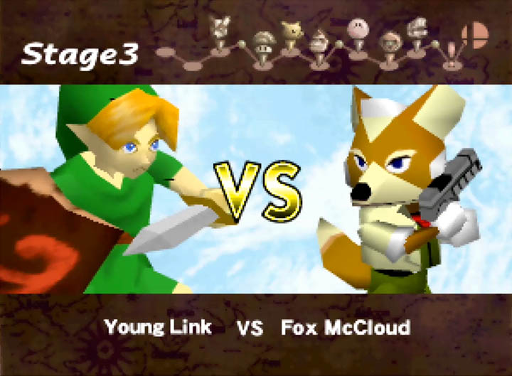 Young Link vs Fox McCloud in Super Smash Bros. 64