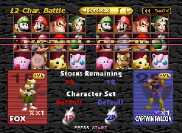 12-Character Battle -- select screen